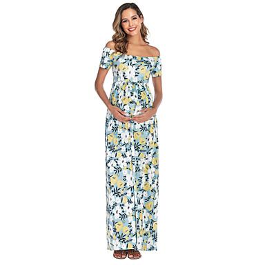 hesapli Hamile Giyimi-Kadın's Midi Annelik Doğal Pembe Havuz Elbise Kombinezon S M