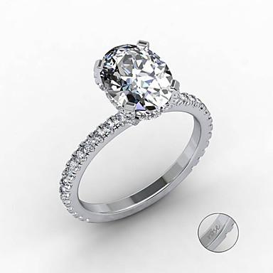 Εξατομικευμένη Προσαρμοσμένη Διάφανο Cubic Zirconia Δαχτυλίδι Κλασσικό Δώρο Υπόσχεση Φεστιβάλ Geometric Shape 1pcs Ασημί