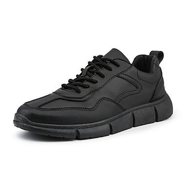 Ανδρικά Παπούτσια άνεσης PU Ανοιξη καλοκαίρι Αθλητικό Αθλητικά Παπούτσια Περπάτημα Μη ολίσθηση Μαύρο / Λευκό