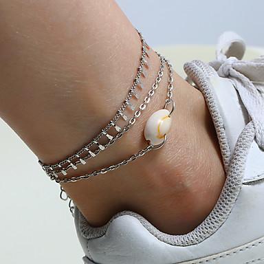 Mulheres tornozeleira Dupla Camada Onda Concha Simples Casual / desportivo Fashion Concha Tornezeleira Jóias Prata Para Diário Rua Feriado / 3pçs