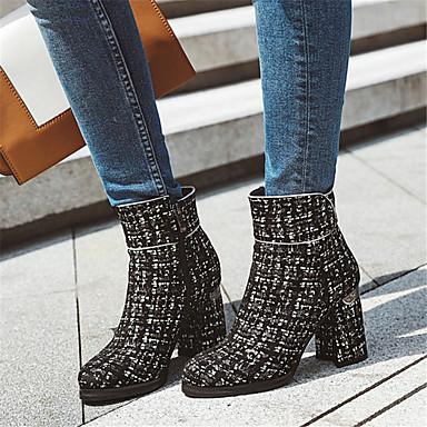 voordelige Dameslaarzen-Dames Laarzen Blok hiel Ronde Teen Tricot Korte laarsjes / Enkellaarsjes Informeel / Brits Lente & Herfst zwart / wit / Zwart / Rood