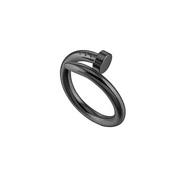 billige Motering-personlig tilpasset Ring Titanium Stål Klassisk Indgraveret Gave Love Festival Geometrisk Form 1pcs Svart Sølv Rose Gull / Laser gravering