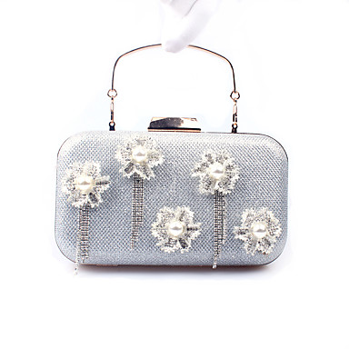 Γυναικεία Κρυστάλλινη λεπτομέρεια / Λεπτομέρεια με πέρλα PU Βραδινή τσάντα Συμπαγές Χρώμα Χρυσό / Ασημί / Φθινόπωρο & Χειμώνας