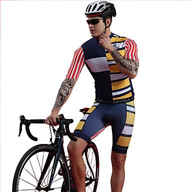 BOESTALK Ανδρικά Κοντομάνικο Αθλητική φανέλα και σορτς ποδηλασίας Μπλε Ριγέ Ποδήλατο Ρούχα σύνολα Αναπνέει Ύγρανση Γρήγορο Στέγνωμα Αθλητισμός Spandex Ριγέ Ποδηλασία Βουνού Ποδηλασία Δρόμου Ρούχα