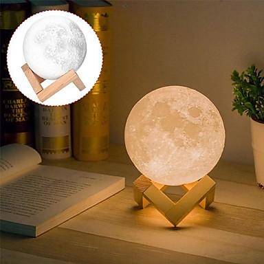 1pc MOON Table Night Lamp Varm hvit / Hvit / Gul Usb For barn / Oppladbar / Mulighet for demping Batteri / <5 V