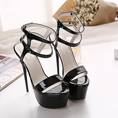 levne Dámské sandály-Dámské Sandály Vysoký úzký S otevřeným palcem PVC Léto Černá / Černobílá / Červená