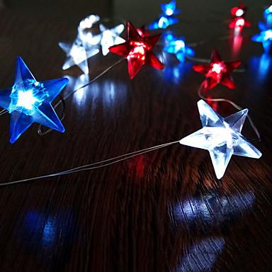 2m streng lys 20 leds amerikanske stjerner flagg belysning uavhengighet dag dekor 3v 1set