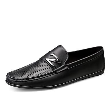 Ανδρικά Δερμάτινα παπούτσια Νάπα Leather Καλοκαίρι / Ανοιξη καλοκαίρι Κλασσικό / Καθημερινό Μοκασίνια & Ευκολόφορετα Περπάτημα Μη ολίσθηση Μαύρο / Λευκό / Με Τρύπες / ΕΞΩΤΕΡΙΚΟΥ ΧΩΡΟΥ