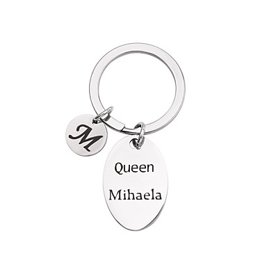 cheap Keychains-Personalized Customized Keychain Stainless Steel Gift Oval 1pcs Silver / Laser Engraving