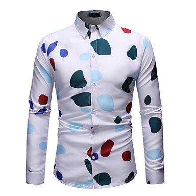 Homens Tamanho Europeu / Americano Camisa Social Básico / Moda de Rua Estampado, Poá / Gráfico Algodão Colarinho Clássico Branco / Manga Longa