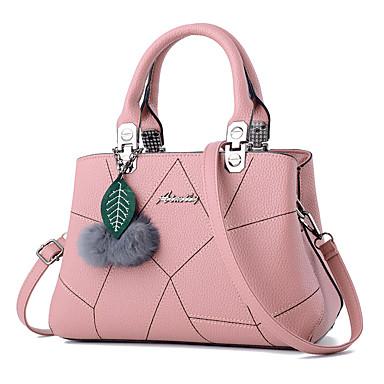 Γυναικεία Φερμουάρ / Pom-pom PU Τσάντα χειρός Συμπαγές Χρώμα Μαύρο / Ανθισμένο Ροζ / Ανοικτό Βυσσινί / Φθινόπωρο & Χειμώνας