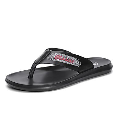 Ανδρικά Παπούτσια άνεσης Δερμάτινο Καλοκαίρι Καθημερινό Παντόφλες & flip-flops Περπάτημα Αναπνέει Μαύρο