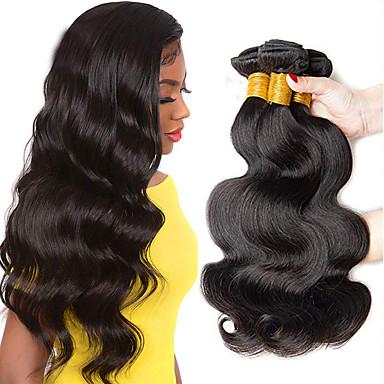 povoljno Ekstenzije od ljudske kose-3 paketa Brazilska kosa Tijelo Wave Ljudska kosa Ljudske kose plete 8-28 inch Priroda Crna Isprepliće ljudske kose Dvostruka potka Nema Splita Zdravi kraj Proširenja ljudske kose / 8A
