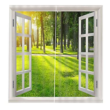 σύγχρονη απλή εκτύπωση 3d έξω από το παράθυρο πράσινο χορτάρι ξύλο χάρτη διακόσμηση σπίτι πάχυνση καθαρό πολυεστερικό ύφασμα κουρτίνα πολυλειτουργική κουρτίνα κουρτίνα