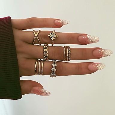 billige Motering-Dame Ring Ring Set 8pcs Gull Strass Opal Legering Klassisk Vintage Bohemsk Daglig Gate Smykker Klassisk Kul