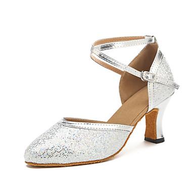 Dame Moderne sko / Ballett Syntetisk Cross Strap Høye hæler Strå Kubansk hæl Dansesko Sølv / Ytelse