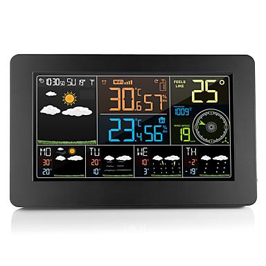 multifunksjon wifi digital vekkerklokke smart værstasjon innendørs utetemperatur fuktighet med app kontroll sm2710-1102