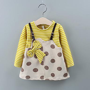 povoljno Odjeća za bebe-Dijete Djevojčice Osnovni Na točkice / Prugasti uzorak Print Dugih rukava Do koljena Haljina Lila-roza
