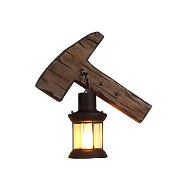 βιομηχανική ρουστίκ τοίχο φωτισμός σχήμα σκελετού ξύλινο τοίχο ελαφρύ μέταλλο φωτισμός δομή διαφανές γυαλί φανάρι dec σκιά 1-φως οδήγησε τοίχο φως