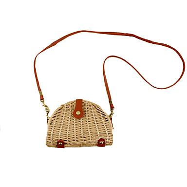 Γυναικεία Άχυρο Σταυρωτή τσάντα Συμπαγές Χρώμα Μπεζ / Καφέ / Σκούρο καφέ / Φθινόπωρο & Χειμώνας