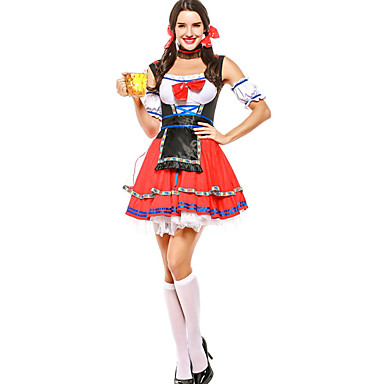 Oktoberfest Roupa Dirndl Trachtenkleider Mulheres Vestido Mangas Avental Bávaro Ocasiões Especiais Vermelho / Arco / Arco