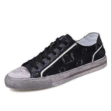 Ανδρικά Παπούτσια άνεσης Πανί Καλοκαίρι Αθλητικά Παπούτσια Αναπνέει Λευκό / Μαύρο / Μπεζ