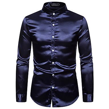 Homens Tamanho Europeu / Americano Camisa Social Básico / Moda de Rua Sólido Colarinho Clerical Azul Marinha / Manga Longa