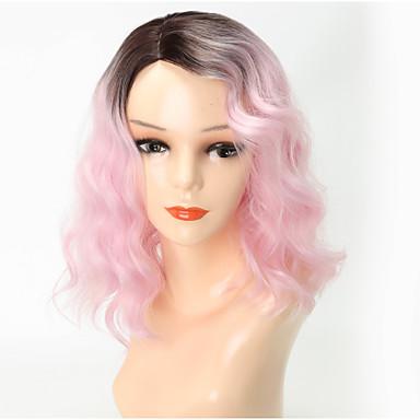 Syntetiske parykker Krop Bølge Med lugg Parykk Lyserød Medium Lengde Rosa / Grå Syntetisk hår 13 tommers Dame Fest Fargegradering Lyserød