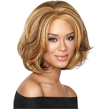 Συνθετικές Περούκες Σγουρά Ασύμμετρο κούρεμα Περούκα Κοντό Φράουλα Ξανθιά  / φράουλα ξανθιά Συνθετικά μαλλιά 8 inch Γυναικεία Πάρτι Καφέ