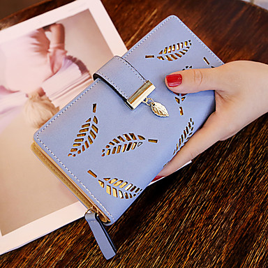 cheap Bags-Women Hollow Out Leaf Long Clutch Purse Card Holder Bifold Leather Wallet