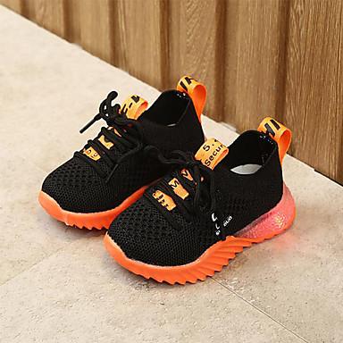 Gutt LED / Komfort / Lysende sko Netting / PU Sportssko Små barn (4-7år) Gange LED Svart / Hvit / Rosa Sommer / Gummi