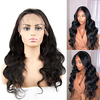 cheap Beauty & Hair-Human Hair Capless Wigs Human Hair Body Wave Side Part Style Party / Women / Best Quality Medium Length 6x13 Closure / Lace Front Wig Brazilian Hair Women's / Couple's