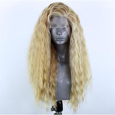 Συνθετικές μπροστινές περούκες δαντέλας Κυματιστό Πλευρικό μέρος Δαντέλα Μπροστά Περούκα Ξανθό Μακρύ Ξανθό Συνθετικά μαλλιά 22-26 inch Γυναικεία Ρυθμιζόμενο Ανθεκτικό στη Ζέστη Πάρτι Ξανθό