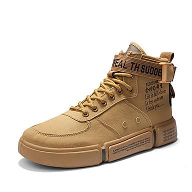 Homens Sapatos Confortáveis Couro Ecológico Outono / Primavera Verão Formais / Colegial Tênis Respirável Preto / Branco / Khaki / Ao ar livre