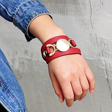 levne Dámské šperky-Dámské Wrap Náramky Dlouhé Šťastný Módní PU Náramek šperky Červená Pro Denní