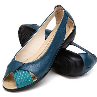 levne Dámské boty s plochou podrážkou-Dámské Bez podpatku Rovná podrážka S otevřeným palcem Kůže Léto Černá / Velbloudí / Bílá