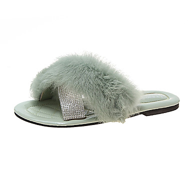 voordelige Damespantoffels & slippers-Dames Slippers & Flip-Flops Platte hak Imitatiebont Zomer Zwart / Beige / Groen