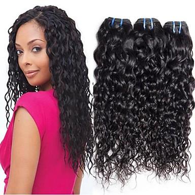 povoljno Ekstenzije od ljudske kose-4 paketića Brazilska kosa Water Wave Virgin kosa 100% Remy kose tkanja Bundle Headpiece Ljudske kose plete Produžetak 8-28 inch Prirodna boja Isprepliće ljudske kose Nježno Sexy Lady Moda Proširenja