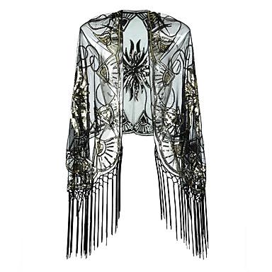 The Great Gatsby Τσάρλεστον 1920s Φανελάκι φόρεμα Κοστούμι πάρτι Γυναικεία Πούλιες Φούντα Στολές Μαύρο+ Χρυσό / Μπεζ / Γκρίζο Πεπαλαιωμένο Cosplay Πάρτι Χοροεσπερίδα 3/4 Μήκος Μανικιού / Σάλι / Σάλι