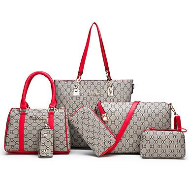 cheap Selected Bags-Women's Zipper PU(Polyurethane) / PU Bag Set Geometric Pattern 6 Pieces Purse Set Black / White / Red / Fall & Winter
