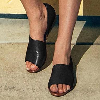 preiswerte Modische Sandalen-Damen Flache Schuhe Flacher Absatz PU Sommer Beige / Gelb / Staubige Rose