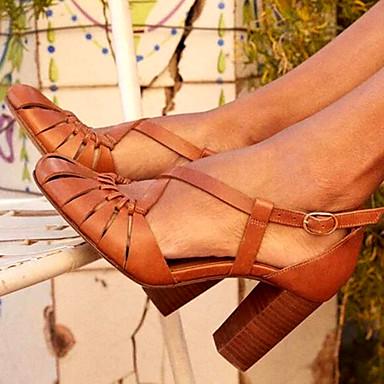 preiswerte Modische Sandalen-Damen High Heels Blockabsatz PU Frühling Sommer Braun / Blau