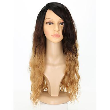 Συνθετικές Περούκες Κύμα Νερού Με αφέλειες Περούκα Χρυσό πολύ μακριά Ανοικτό Χρυσαφί Συνθετικά μαλλιά 26 inch Γυναικεία Κλασσικό Διαβάθμιση χρώματος Χρυσό