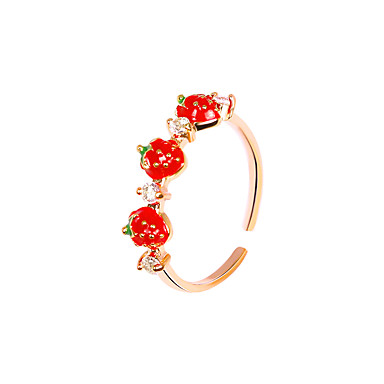 cheap Rings-Women's Ring Open Ring 1pc Red Rhinestone Alloy Simple Korean Fashion Party Daily Jewelry Classic Strawberry Cool Lovely
