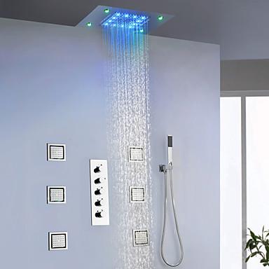 Βρύση Ντουζιέρας - Σύγχρονο Χρώμιο / Βαμμένα τελειώματα Επιτοίχιες Κεραμική Βαλβίδα Bath Shower Mixer Taps