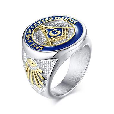 levne Pánské šperky-Pánské Prsten 1ks Stříbrná Titanová ocel Oválný Dar Denní Šperky Logo