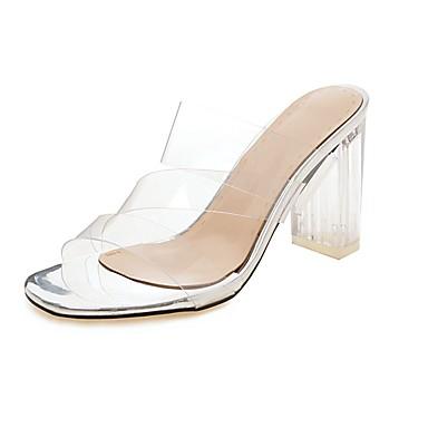 voordelige Damessandalen-Dames Sandalen Stiletto hakken Open teen  PU minimalisme / Lucite Heel Zomer Zwart / Wit / Goud