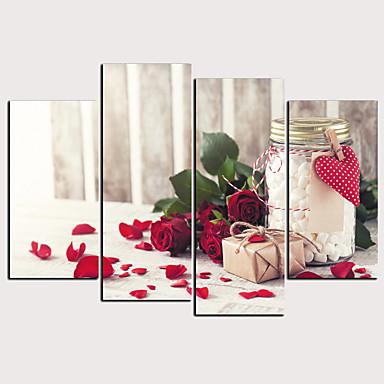 Estampado Laminado Impressão De Canvas - Corações Floral / Botânico Clássico Modern 4 Painéis Art Prints
