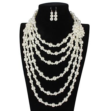 Γυναικεία Κρίκοι Κρεμαστό Σκουλαρίκι Απομίμηση Μαργαριταριού Σκουλαρίκια Κοσμήματα Μπεζ Για Δώρο Σχολείο Δρόμος Αργίες Φεστιβάλ 2 / Coliere cu Perle