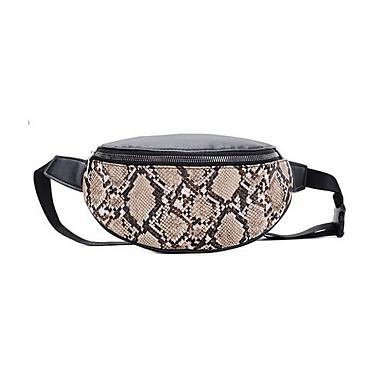 preiswerte Schlangenhaut-Damen Reißverschluss PU Hüfttasche Schlangenhaut Braun / Weiß